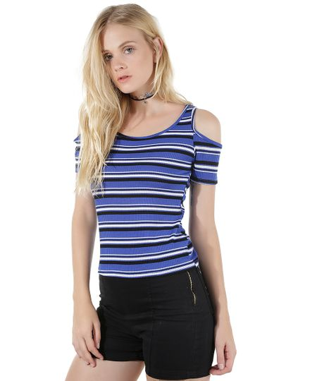 Blusa Open Shoulder Listrada Azul