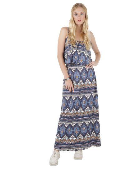 Vestido Longo Estampado de Arabescos Azul Marinho