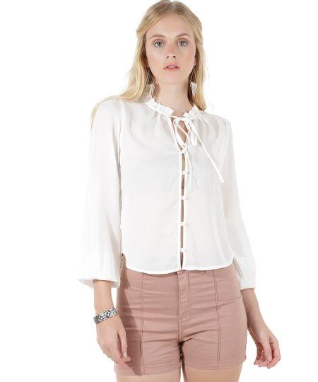 Camisa Cropped com Gola Laço Off White