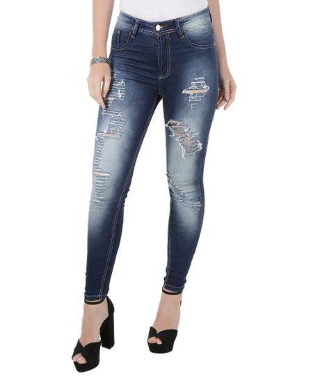 Calça Jeans Cigarrete Sawary Azul Escuro