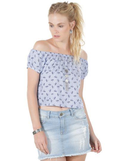 Blusa Ombro a Ombro Estampada de Libélulas Azul Claro