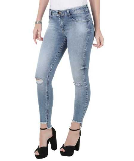 Calça Jeans Cigarrete Sawary Azul Claro