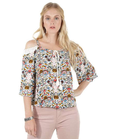 Blusa Open Shoulder Estampada Floral Off White