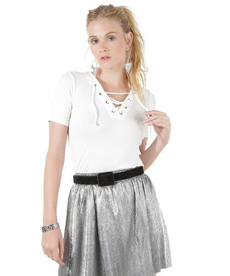 Blusa Canelada com Amarração Off White