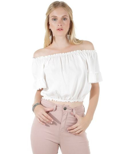 Blusa Cropped Ombro a Ombro Off White