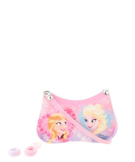 Bolsa Frozen com Elástico de Cabelo Rosa