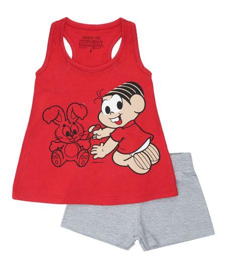 Conjunto Mônica de Blusa Vermelha + Short em Moletom Cinza