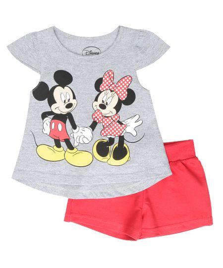 Conjunto de Blusa Cinza Mescla + Short Mickey e Minnie Vermelho