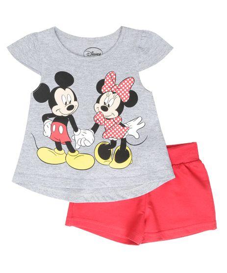Conjunto-de-Blusa-Cinza-Mescla---Short-Mickey-e-Minnie-Vermelho-8559190-Vermelho_1