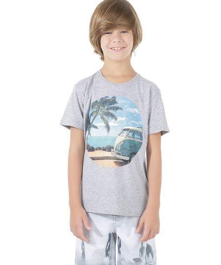 Camiseta com Estampa de Paisagem Cinza Mescla