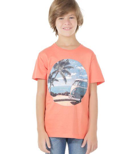 Camiseta com Estampa de Paisagem Coral
