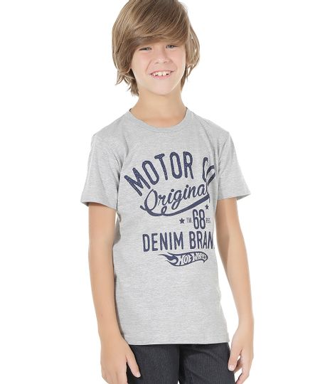Camiseta Hot Wheels  Cinza Mescla