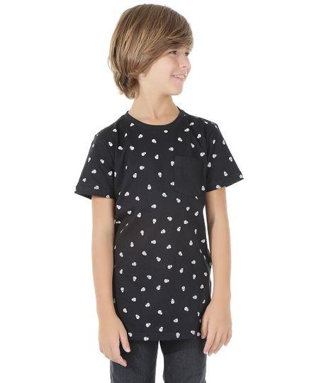 Camiseta Longa Estampada de Caveira Preta
