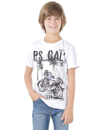 Camiseta Hot Wheels Branca