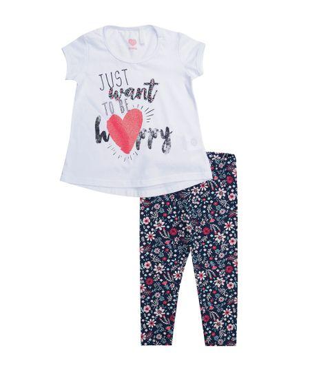 Conjunto de Blusa Branca + Calça Legging Estampada Azul Marinho