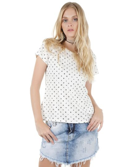 Blusa Estampada de Letras Off White