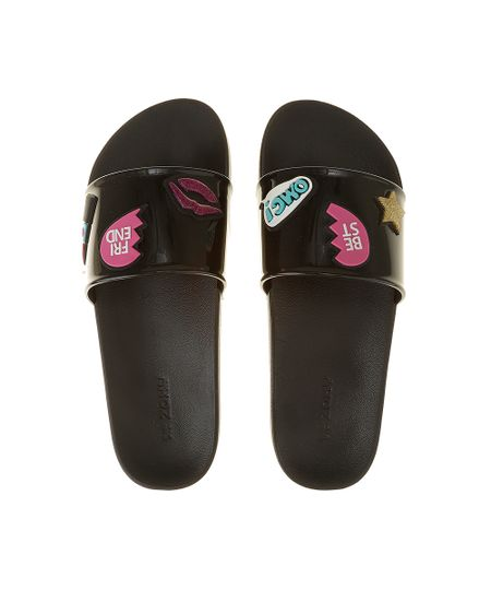 Chinelo Slide Zaxy com Patch Preto