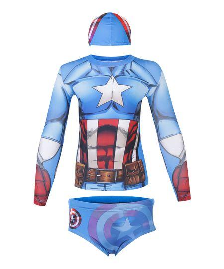 Conjunto de Camiseta e Sunga Capitão América com Proteção UV 50 Azul