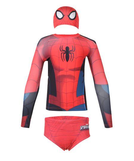 Conjunto de Camiseta e Sunga Homem Aranha com Proteção UV 50 Vermelho