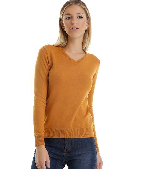 Suéter em Tricô Amarelo Escuro