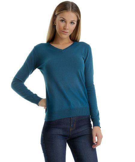 Suéter em Tricô Azul Petróleo