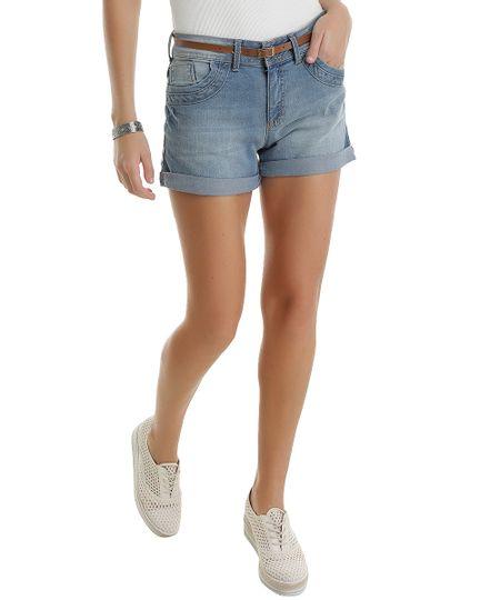 Short Jeans Reto com Cinto Azul Médio
