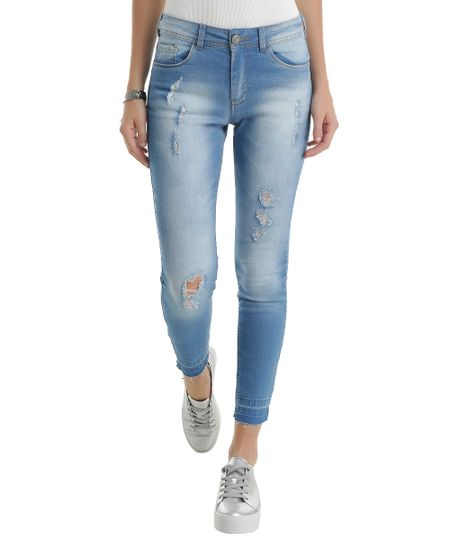 Calça Jeans Cigarrete Azul Claro
