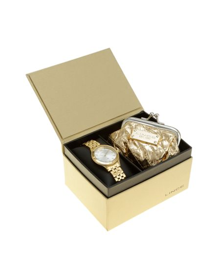 Kit de Relógio Lince Feminino Analógico + Porta Moedas - LRG4369L-K182S2KX Dourado