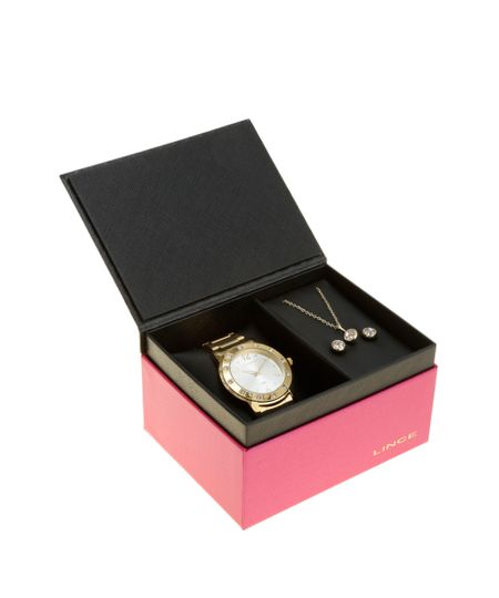 Kit de Relógio Condor Feminino Analógico + Colar + Brinco - LRGJ047L KB44S2KX Dourado