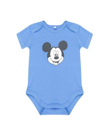 Body Mickey em Algodão + Sustentável Azul