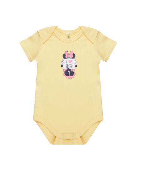 Body Minnie em Algodão + Sustentável Amarelo Claro