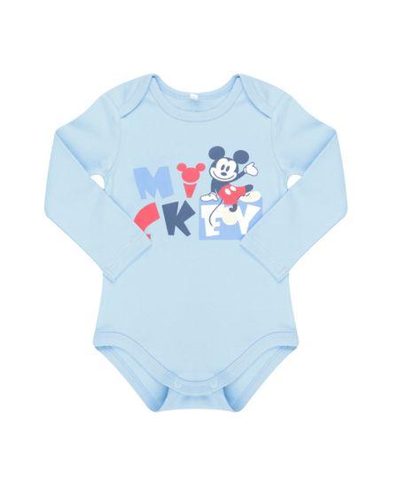 Body Mickey em Algodão + Sustentável Azul Claro