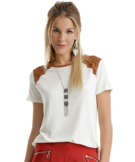Blusa com Suede Off White