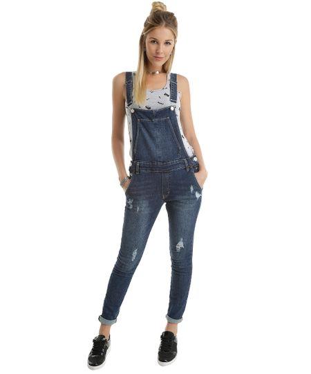 Macacão Jeans Azul Escuro