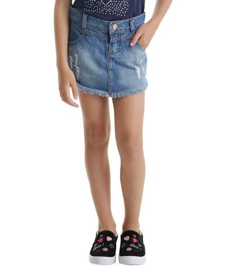 Short Saia Jeans Bordado Azul Médio