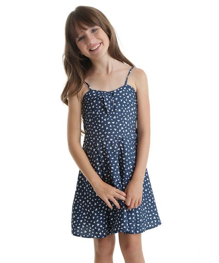 Vestido Estampado de Corações Azul Marinho