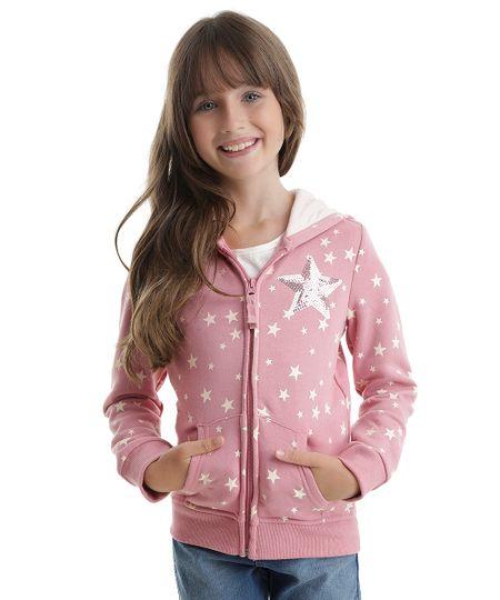 Blusão em Moletom Estampado de Estrelas Rosa