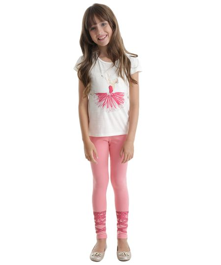 Conjunto de Blusa Off White + Calça Legging Rosa
