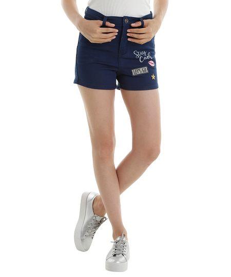Short Hot Pant Jeans com Patchs Azul Médio