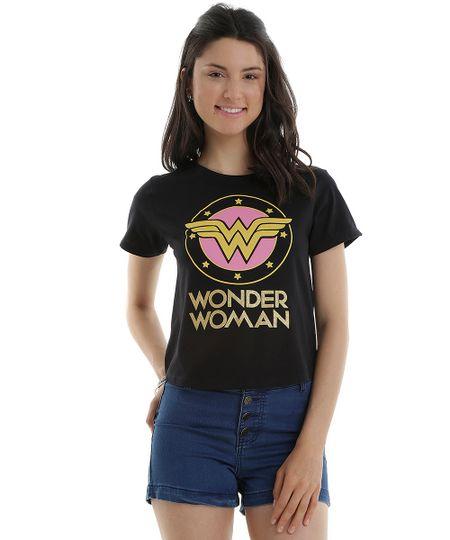 Blusa Mulher Maravilha em Algodão + Sustentável Preta