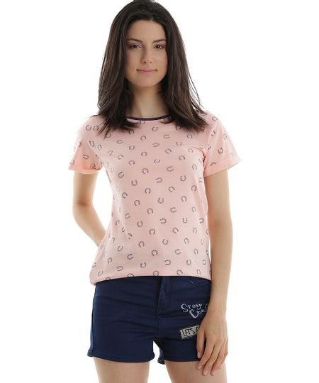Blusa Estampada de Ferraduras Rosa Claro