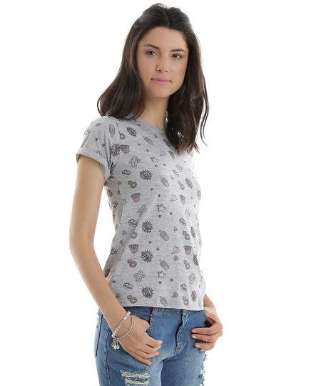 Blusa Estampada de Ícones Cinza Mescla