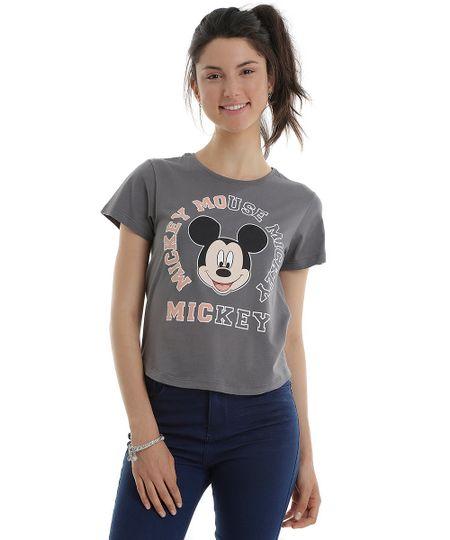 Blusa Mickey em Algodão + Sustentável Cinza
