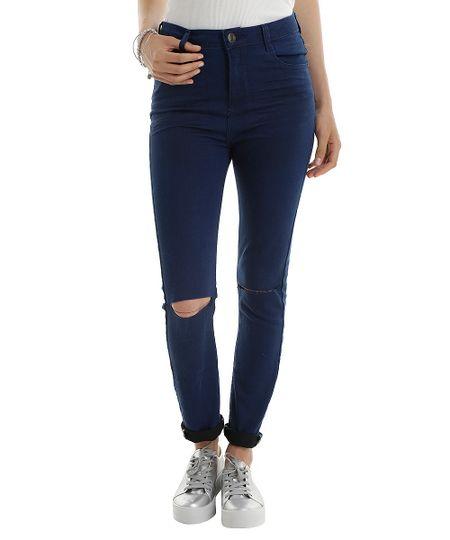 Calça Jeans com Patchs Azul Médio