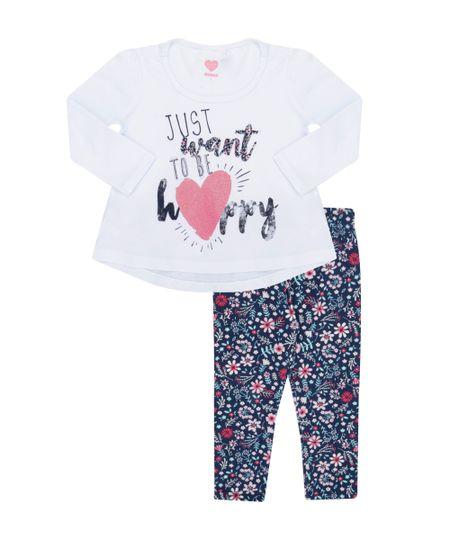 Conjunto de Blusa Branca + Calça Legging Estampada Floral Azul Marinho