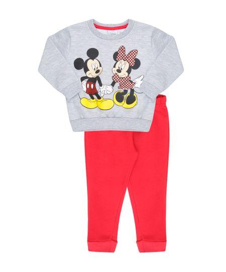 Conjunto Mickey & Minnie de Blusão Cinza Mescla + Calça em Moletom Vermelha