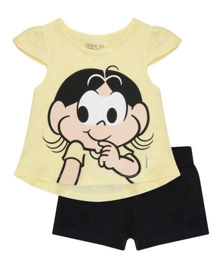 Conjunto Magali de Blusa Amarela + Short Preto