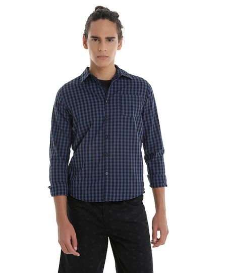 Camisa Xadrez Azul Marinho
