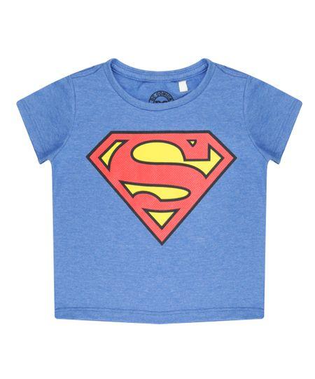 Camiseta Super Homem Azul Claro