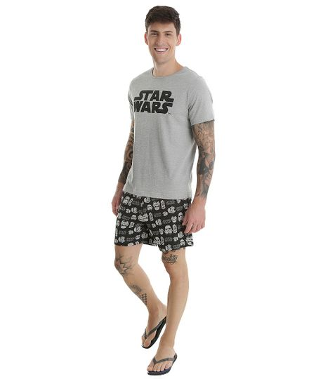 Pijama Star Wars Cinza Mescla